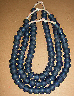 African Tribe Ghana Recycled Glass Trade Sandcast Sea Beads Necklace Jewelry Art