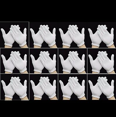 12, 24, 48, 96 PAIRS x WHITE WORK JEWELLERY HANDLING COSTUME COTTON SOFT GLOVES