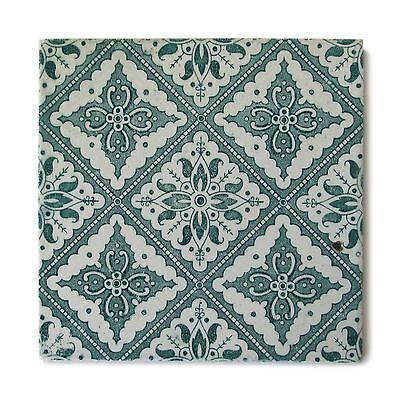 Antique Tile Victorian Aesthetic Floral Geometric Sacavem Transfer Green White
