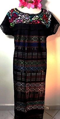 Mexican Dress Black Cotton Hand loomed & Embroidered Wedding L/XL Frida Ethnic