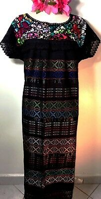 Mexican Dress Hand loomed & Embroidered Wedding L/XL Frida Black Cotton Ethnic