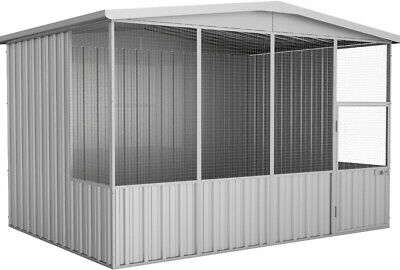 Absco Gable Roof Aviary Bird Cage Chicken Coop 3 x 2.26 x 2.06 in Zinc