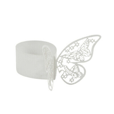 50 X Butterfly Paper Wedding Party Napkin Ring Serviette Table Decor White