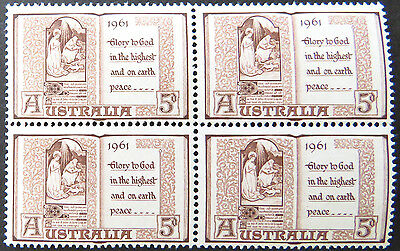 1961 Australian Pre Decimal Stamps: Christmas - Block of 4 MNH