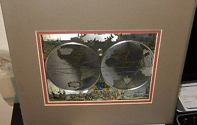 Nova Totivs Terrarvm Orbis Silver & Gold Foil Map Of The World F J Warren Ltd