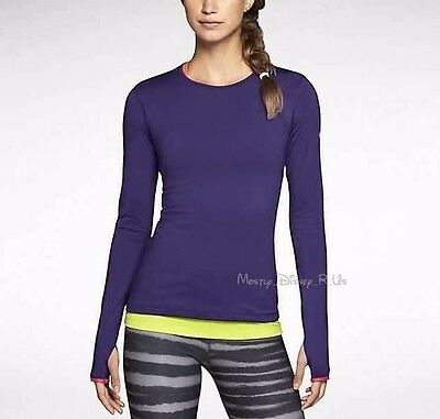 Nike Dri-Fit Women's Pro Hyperwarm Crew II Pullover Top Purple Medium 604882-504