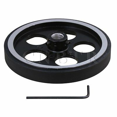 30x1cm Aluminum Rubber Rotary Encoder Wheel for Measuring Black Silver