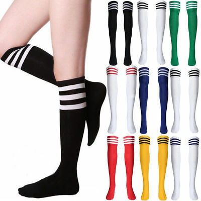 AU Womens Striped Knee High Socks Girls Over The Knee Long Warm Sport Stockings