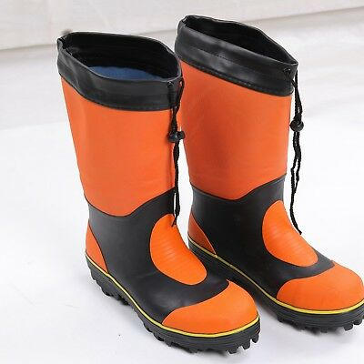 Orange Fashion Men's Waterproof Rain Boots Rubber Fishing Spiked Boots