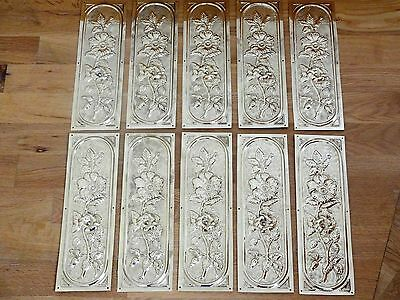10 X Reclaimed Brass Arts & Crafts Finger Door Push Plates Fingerplate