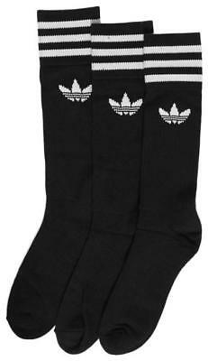 New Men's Adidas Solid Crew Sock Black/white Accessories Socks