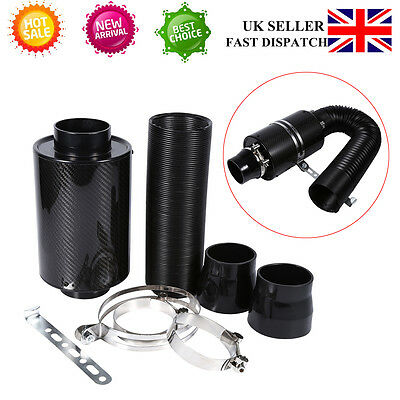"""Universal 3"""" Carbon Fibre Air Filter Induction Intake Pipe Kit+3 Stainless Clamp"""