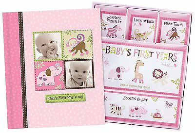 Silly Monkey Baby Girl - Baby's First Five Years Keepsake Record Book with