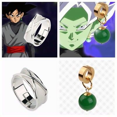 Super Dragon Ball Black Son Goku Time Finger Fingerring & Zamasu Earring Ohrring