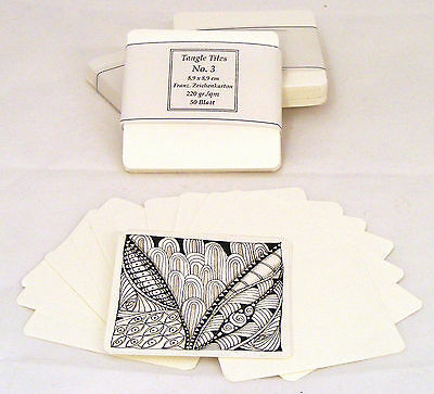 "40 Blatt-Set Tangle Tiles Nr.3 Künstler-Karton-8,9cm f.""Zentangle inspired Art"""