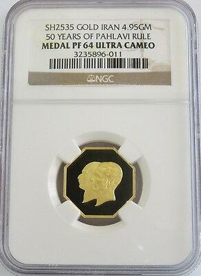 Sh 2535 (1976) Gold Persia Golden Jubilee National Bank Medal Ngc Proof 64 Uc