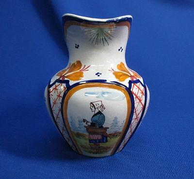 Early Quimper French Faience Handled Jug With Hand-Painted Woman On Front