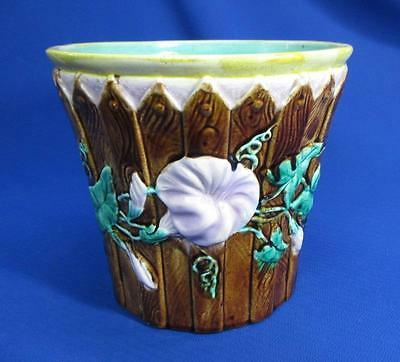 Antique Majolica Flower Pot Morning Glory's On Picket Fence