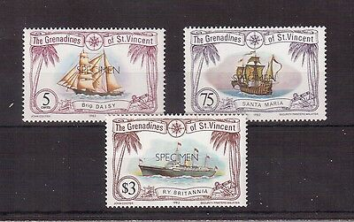 Grenadines Of St.vincent 1982 #224, 233, 236 Overprinted Specimen Mint Vf Nh !!
