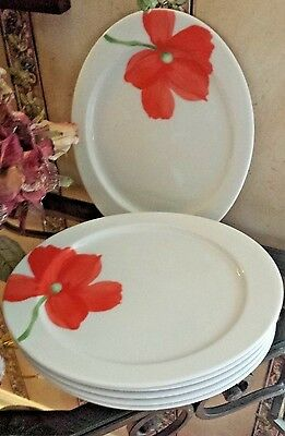 "Rare MITTERTEICH Bavaria Germany 6 - Luncheon Plates 9 1/2"" POPPIES ON WHITE"