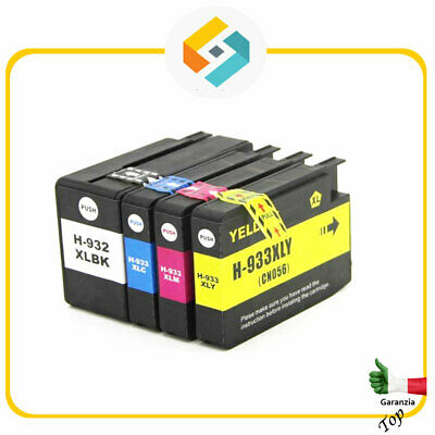 4 CARTUCCE COMPATIBILI HP 932XL 933XL Officejet 6100 ePrinter H611a 7110 Wide F