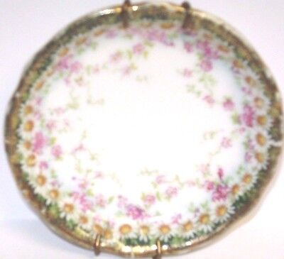 Vintage China Butter Pat Hallmarked With Eagle & C.t Green Edge & White Daisies