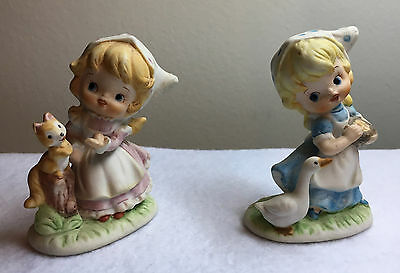2 Vintage HOMCO Porcelain GIRL with SQUIRREL & DUCK FIGURINES