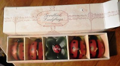 Lot of Five Floating Ladybug Candles