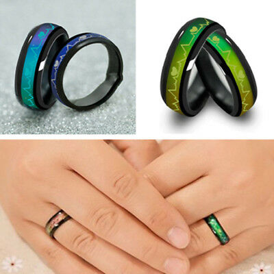 Heart Titanium Steel Mood Rings Temperature Emotion Feeling Engagement Rings 6mm