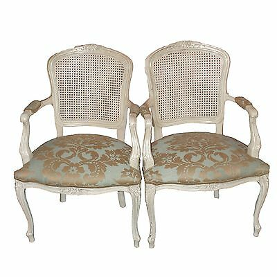 Louis XV Style Fauteuils - Pair, French Chairs, Pale Aqua and Gold Brocade Linen