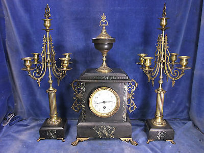 Super Victorian Marble/Slate Clock Garniture Set c.1880 [4500]