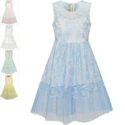 Sunny Fashion Girls Dress Blue Lace Tassel Hem Princess Party Age 6-16 Years
