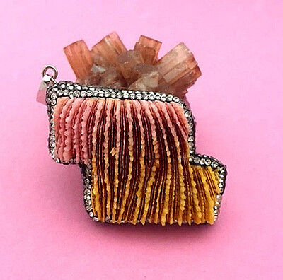 Beautiful Pink & Gold Bamboo Coral Pendant - 1 Pc