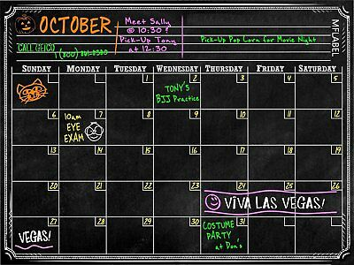 "16"" x 12"" Dry Erase Magnetic Refrigerator Calendar Message Black Board Home New"