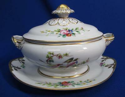 Hand-Painted Vista Alegre Small Tureen & Underplate Exotic Birds & Flowers