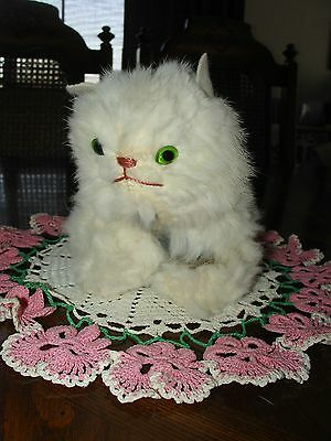 1950's White RABBIT FUR Kitten CAT Toy Green eyes Jerry Elsner SWEET!