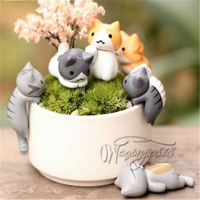 Neko Atsume Mini Cat Backyard Flower Pot Micro Landscape 6pcs Figurine Figürchen
