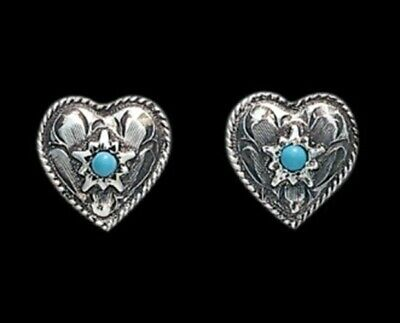 SALE! Bar V Ranch Silver Engraved Hearts Turquoise Center Earrings 311-200