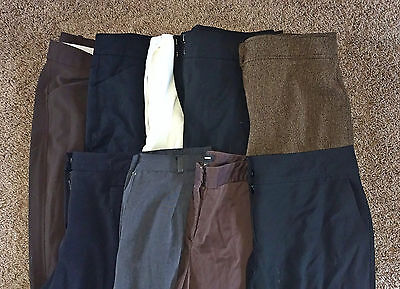LOT B 6 Pairs Women's Designer Career Dress Pants Slacks Trousers 12 LARGE L EUC