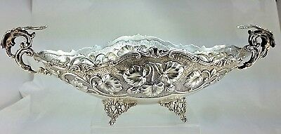 Antique Sterling Silver Heavy High Relief Repose Floral Rose Footed Center  Bowl