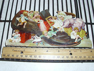 Antique Victorian Scrap Die Cut Old Woman Who Lived in Shoe Children