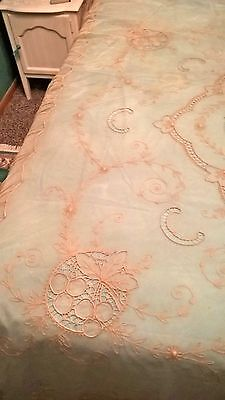 """Antique French Tambour Lace Bed Cover-Bridal Veil 105"""" x 89.5"""""""