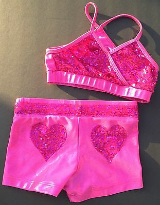 California Kisses Child Kids Small Sequin Top Booty Shorts Set Dancewear Cheer