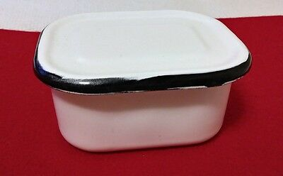 Vintage White & Black Enamel Refrigerator Dish with Lid - 5 x 4 inches