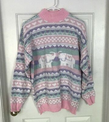 Vintage Pastel Elephant Sweater by Private Eyes Kawaii Sparkle Fairy Kei