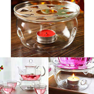 Heat Resistant Clear Glass Round Warmer Base Tea Coffee Pot Flower Teapot