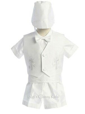 New Baby Toddler Boys Shantung White Shorts Suit Baptism Christening Outfit 418F