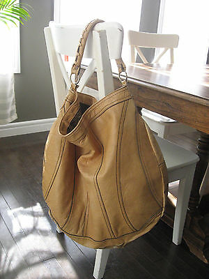 Vintage 70s Large Leather Tote Duffle Bag Purse Saks Fifth Avenue Hippie Boho