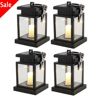 Solar Power LED Path Wall Yard Light Landscape Garden Fence Outdoor Hanging Lamp