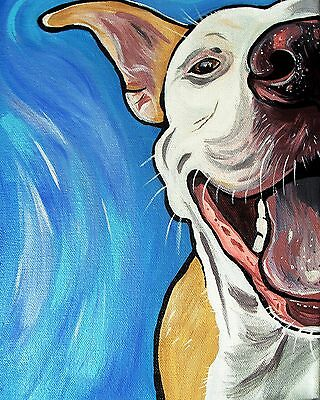 """PIT BULL Art Print 8x10""""- Dog Art Painting by WOOF Factory - free shipping"""